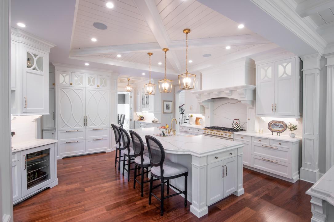 Kitchen_Fairport_NY_Island_Walnut_Floor_Coffered_Ceiling_Satin_Brass_White_Cabinets_Beaded_Panel