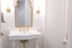 Bathroom_Fairport_NY_Powder_Room_Wainscoting_Marbel_Tile_Satin_Brass_Pedestal_Sink