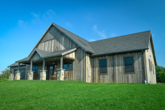 Exterior_Rush_NY_Rustic_Barnwood_Vertical_Siding_Ranch_Cedar_Shake_Stone_Pillar