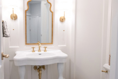 Bathroom_Fairport_NY_Powder_Room_Wainscoting_Marbel_Tile_Satin_Brass_Pedestal_Sink