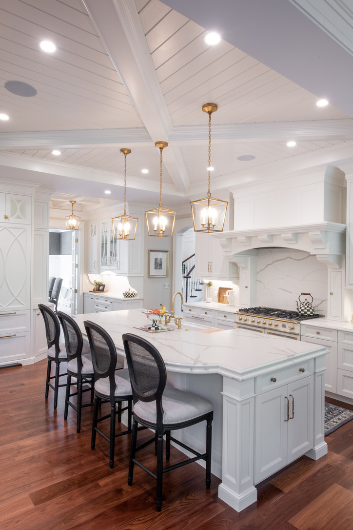 Kitchen_Fairport_NY_Hood_Island_Coffered_Ceiling_Walnut_Floor_Quartz_Counter_Top