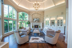 Interior_Fairport_NY_Stone_Fireplace_Vaulted_Ceiling_Walnut_Floor_Mantel
