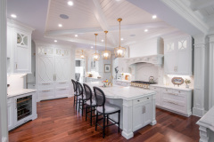 Kitchen_Fairport_NY_Island_Walnut_Floor_Coffered_Ceiling_Satin_Brass_White_Cabinets_Beaded_Panel