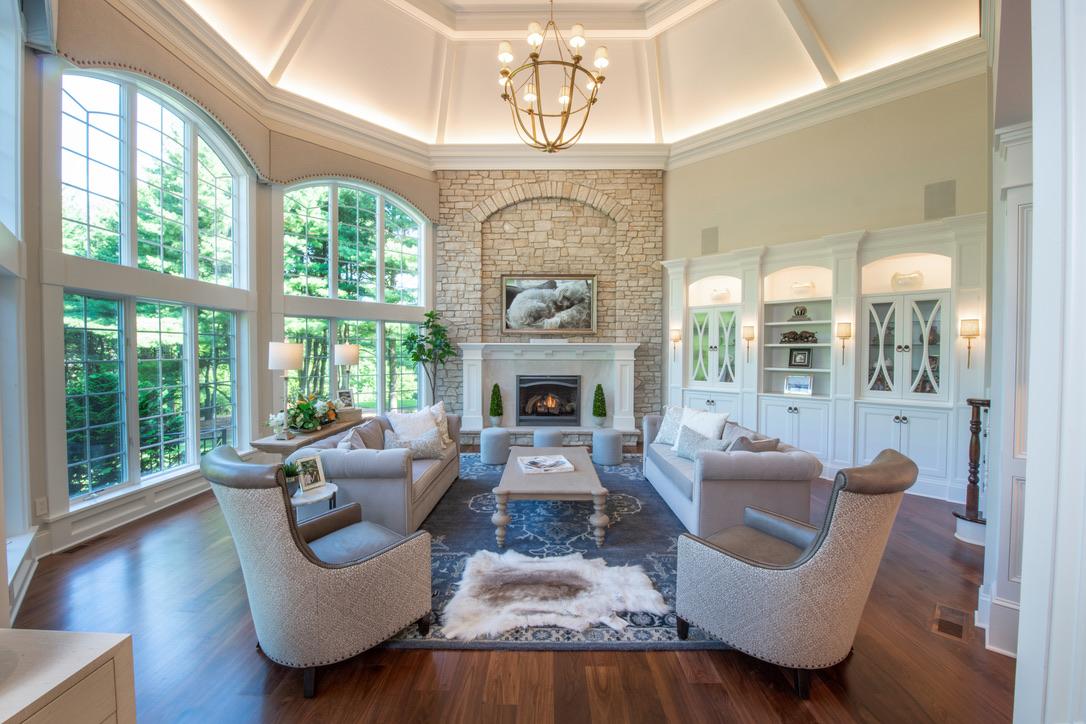 Interior_Fairport_NY_Stone_Fireplace_Vaulted_Ceiling_Walnut_Floor_Mantel